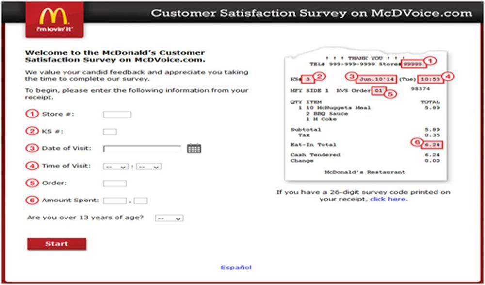 McDonaldu0027s Customer Satisfaction Survey Business Pinterest - sample client satisfaction survey