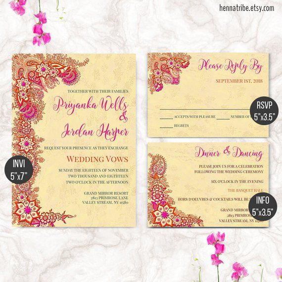 Bollywood Invitation Indian Wedding Invitation Indian