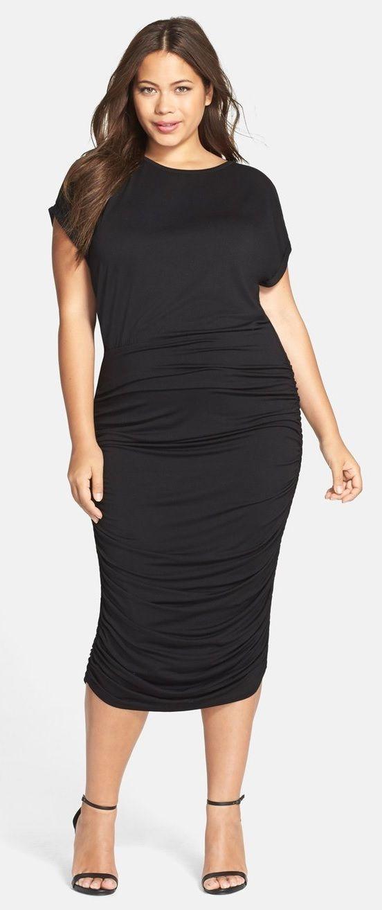 Plus Size Side Ruched Midi Dress Plus Size Fashion Pinterest