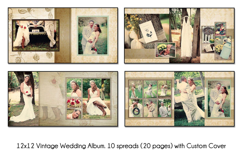 Vintage 12x12 Digital Wedding Al Template Unique 10 Spread 20 Page Design