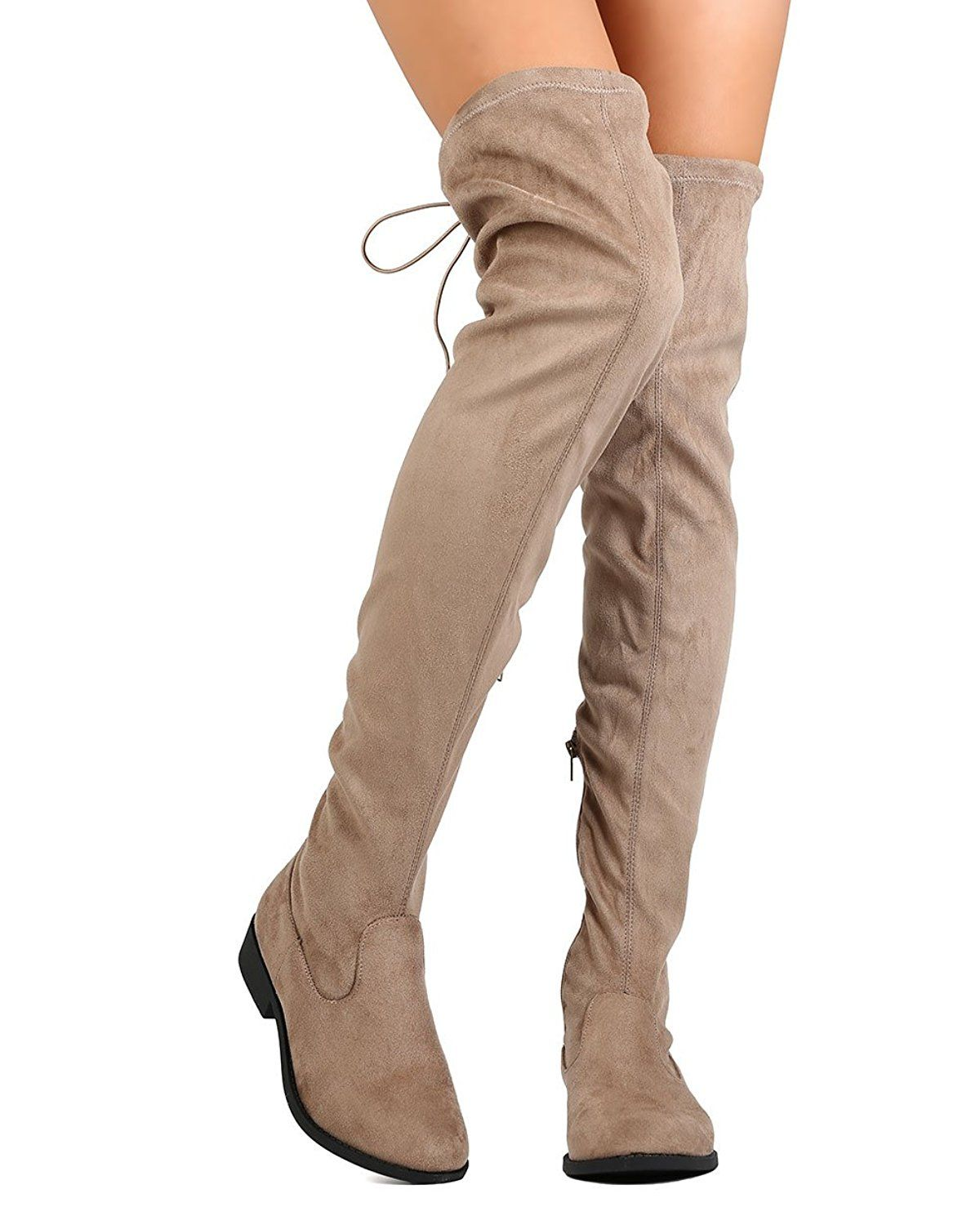 29ceeb009c4 Qupid FC38 Women Faux Suede Thigh High Elastic Back Tie Riding Boot - Taupe      This is an Amazon Affiliate link. To view further for this item