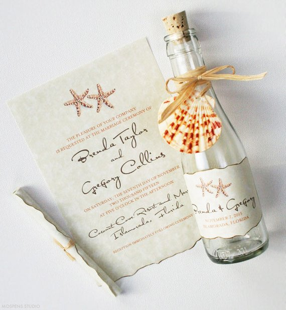 Bottle Wedding Invitations Beach In A Painted St