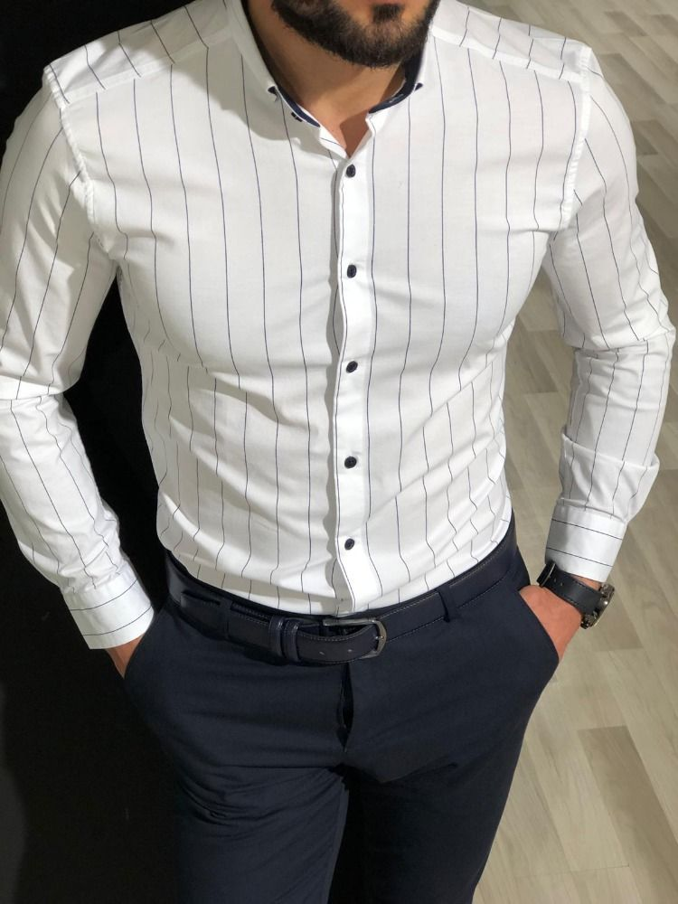 Mens Floral Shirt Long Sleeve Lapel Slim Fit Stripped Printed Casual Tops Blouse