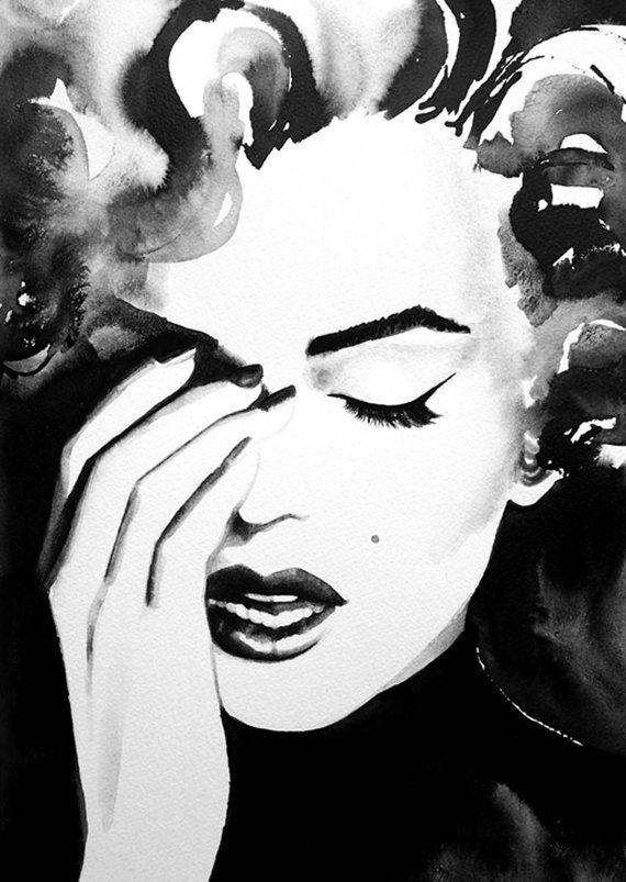 Alten Hollywood der 1950er Jahre Ikone Kunstdruck Aquarell schwarz und weiß Retro Salon Dekor Haar Ideen