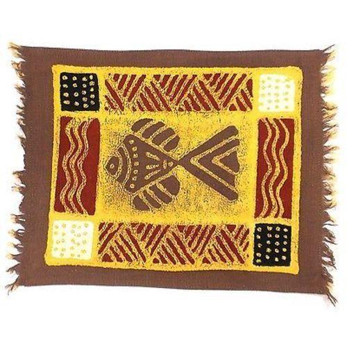 Handpainted Grey Fish Batiked Placemat - Tonga Textiles | Placemat ...
