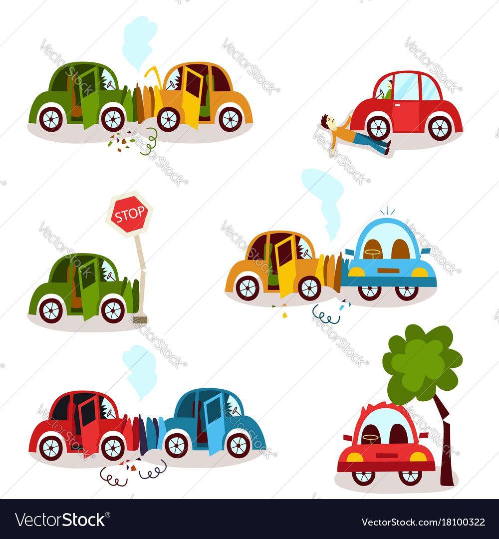 Car Crash Road Accident Vehicle Collision Set Vector Image On Vectorstock Car Crash Cartoon Styles Cartoons Vector