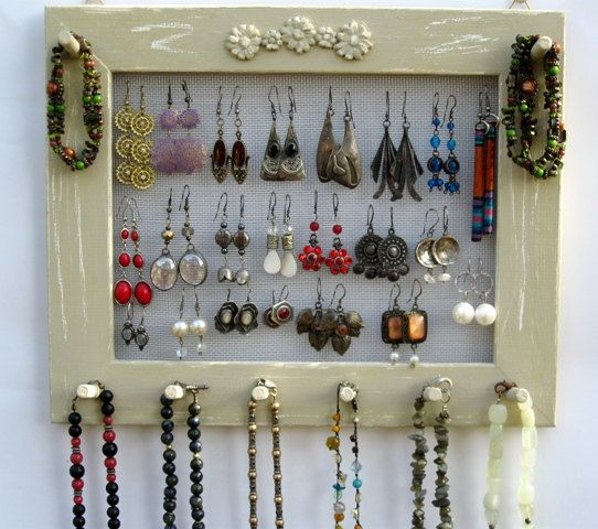 Cream Shabby Chic Jewelry Organizer, Earring Organizer, Jewelry ...