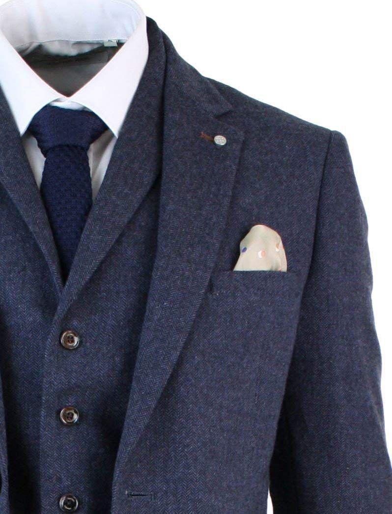 415c7f530f6 Cool Suit from Peaky Blinders Cavani Mens Brown Herringbone Tweed Wool Mix  Black 3 Piece Vintage Retro Suit Slim Fit  Amazon.co.uk  Clothing