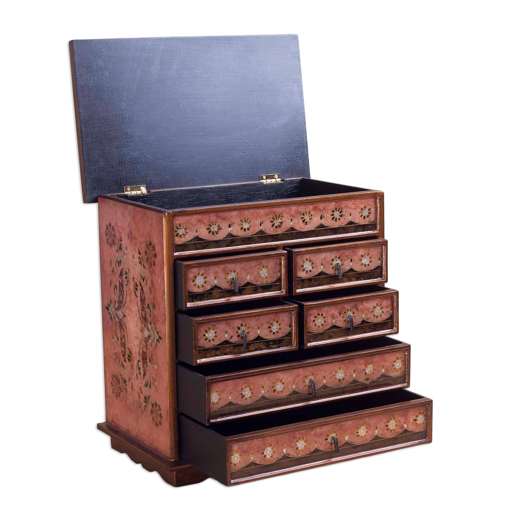 Reverse Painted Glass Jewelry Chest Vintage Rose Reverse Painted Glass Jewelry Chest Reverse Painted