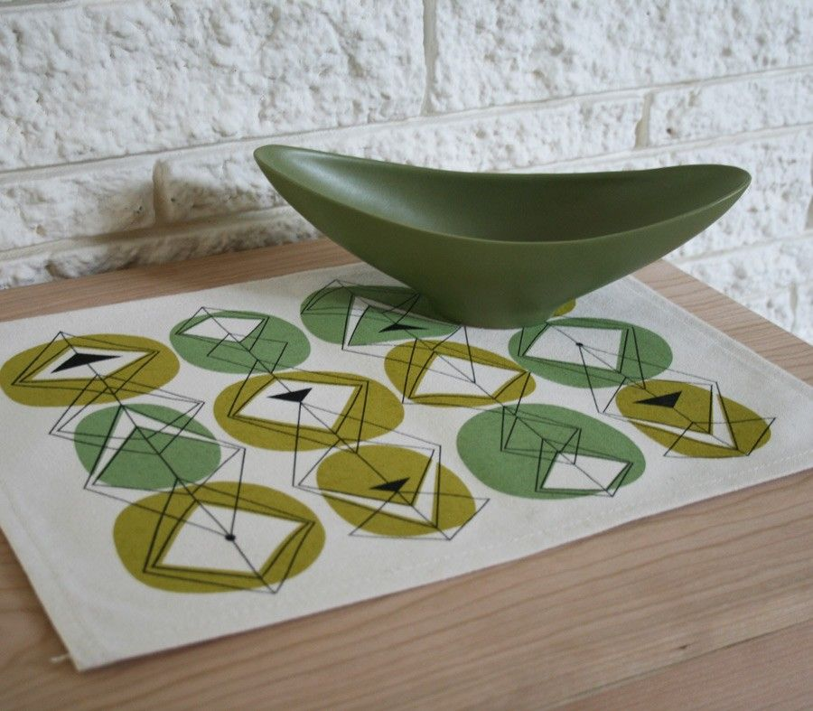 Avocado Kitchen Eco Friendly Placemats Placemats Mid Century Dishes Mid Century