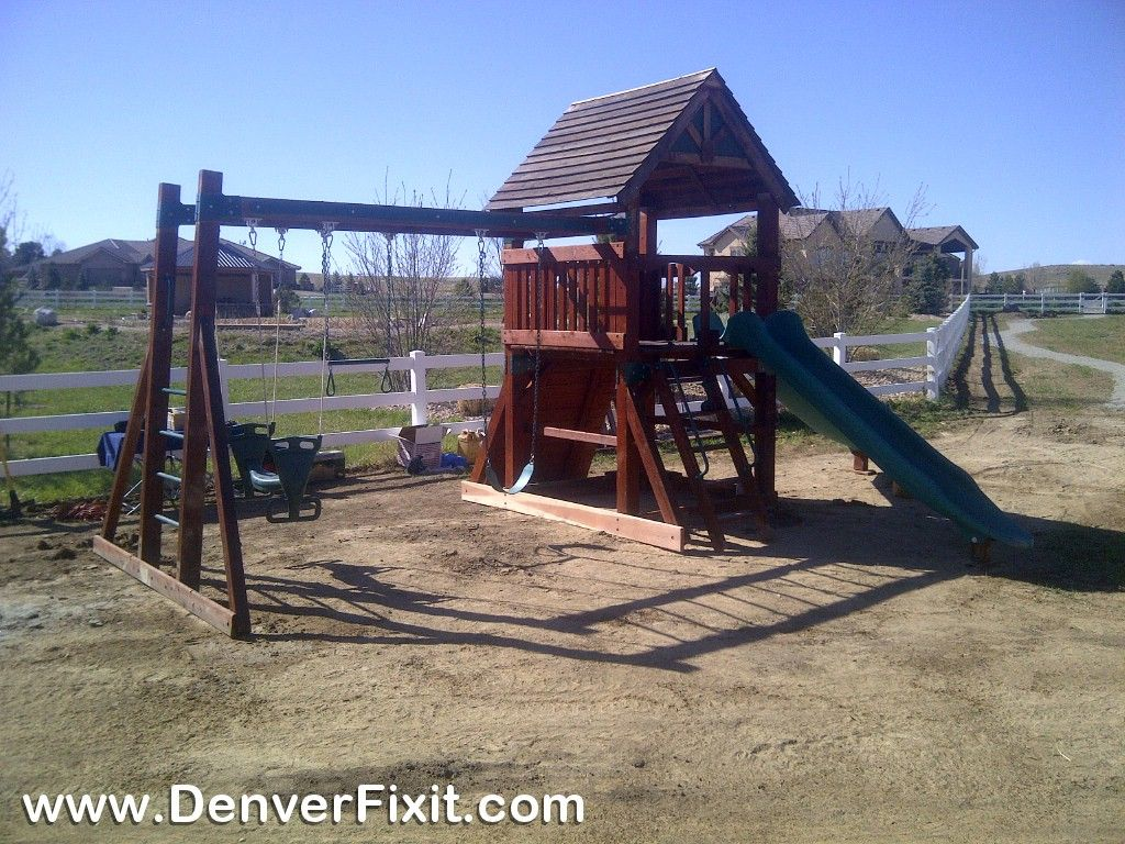 Backyard Adventures playset relocation in Broomfield, Colorado. This was a  heavy one. 4x8 posts! - Backyard Adventures Playset Relocation In Broomfield, Colorado. This