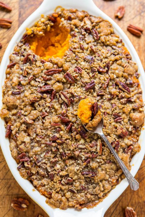 Sweet Potato Casserole with Butter Pecan Crumble Topping: Extra-sweet crumble topping puts this sweet potato casserole on another level. Click through to find more easy sweet potato casserole recipes.
