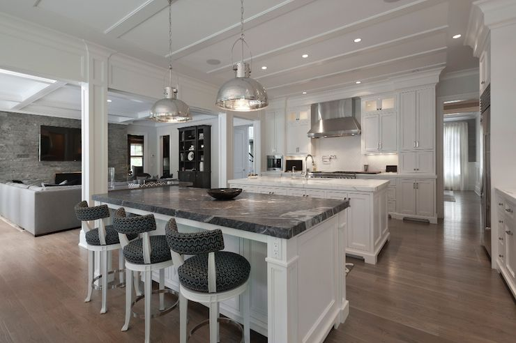 White Kitchen Island With Black Marble Countertop Transitional