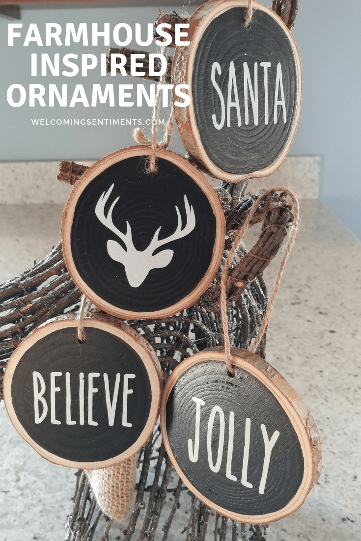 Farmhouse Glitter Wooden Ornaments Diy Wood Slice Ornament Wood Christmas Ornaments