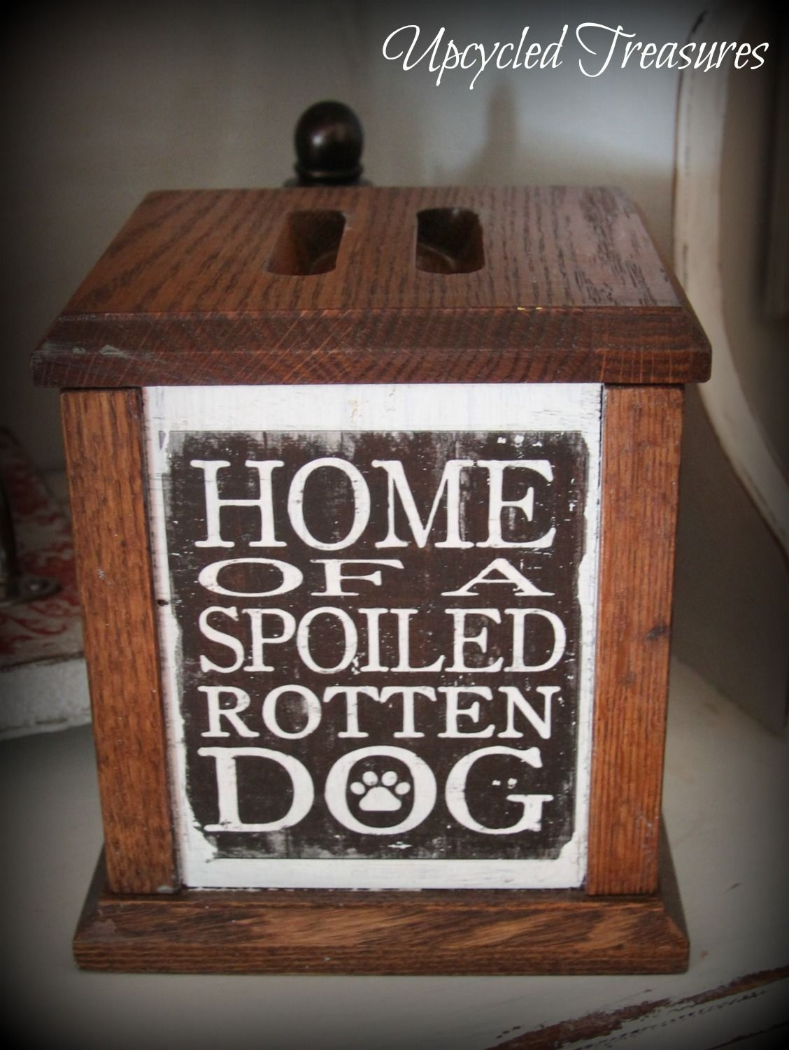 Vintage upcycled oak container turned into a pretty spot to keep dog treats #chalkpaint #repurposed https://www.facebook.com/Upcycled-Treasures-1403647943237665/?ref=hl