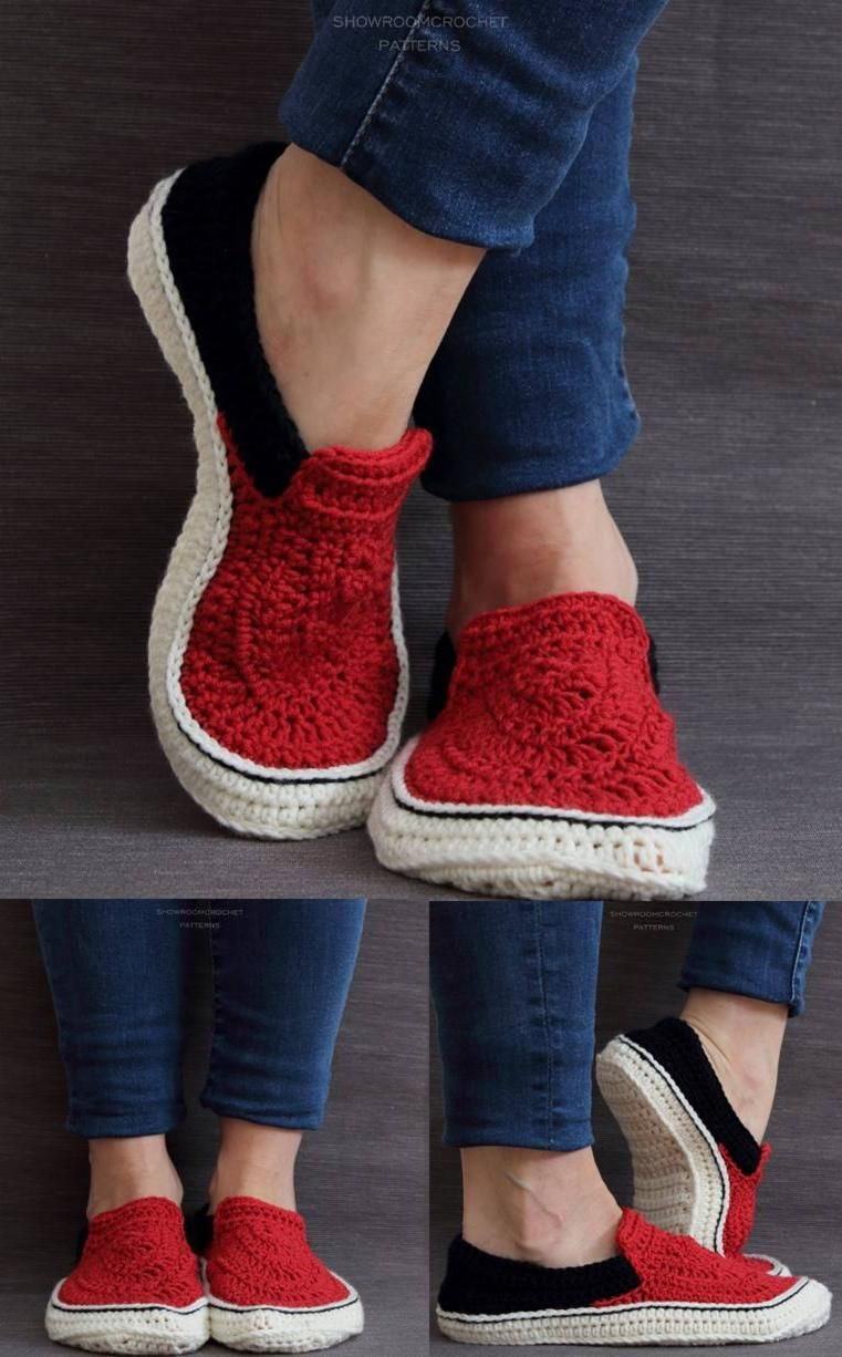_Crochet pattern_ Vans style slippers adult sizes by ShowroomCrochet ...