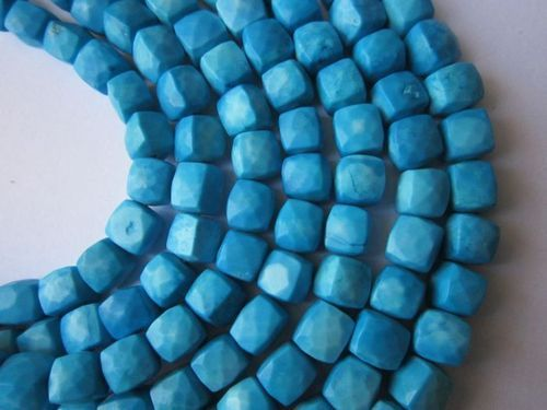 8 inch turquoise faceted box 7mm beads single strand