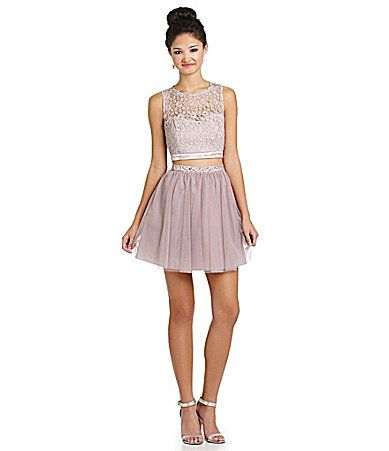 03d1ac4c004 Sequin Hearts Daisy Lace to Mesh 2Piece Dress  Dillards
