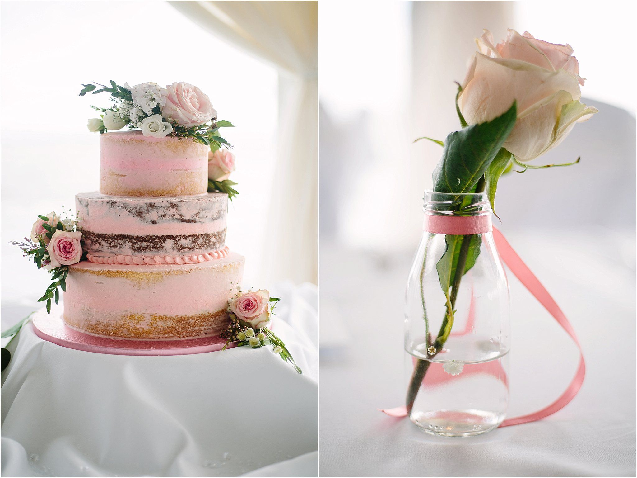 Pink Naked Wedding Cake, Redcastle Hotel Donegal Wedding, County ...