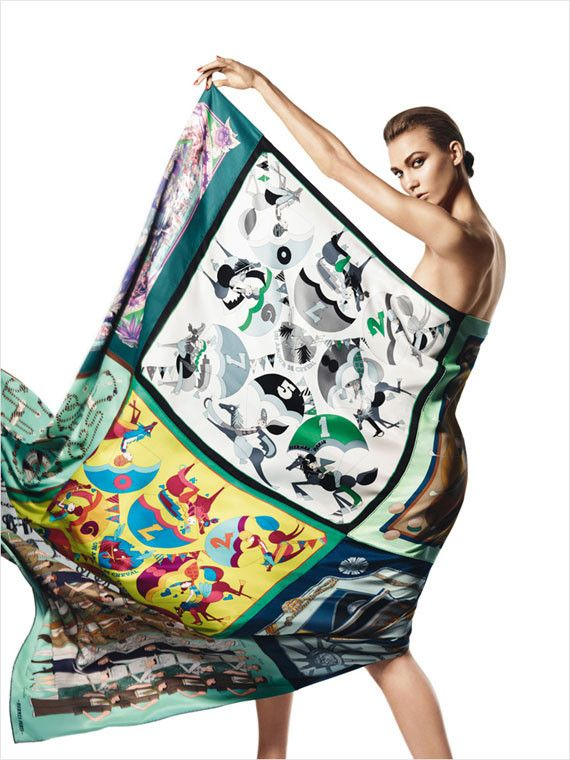HERMES SCARF WERQED BY KARLIE KLOSS | Hermès – Scarves Spring/Summer 2013 [magazine] | POPpaganda.net