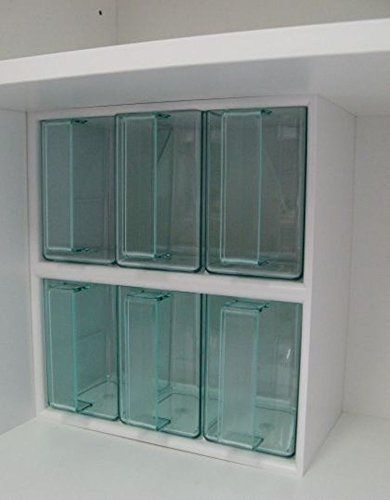 INNENSCHRANK-AUSSTATTUNG 6er Schüttensatz mit 6 Kunststoffschütten, Gehäuse weiß, Schütten: grüntransparent, Maße in mm: Breite: 267, Tiefe: 150, Höhe: 292