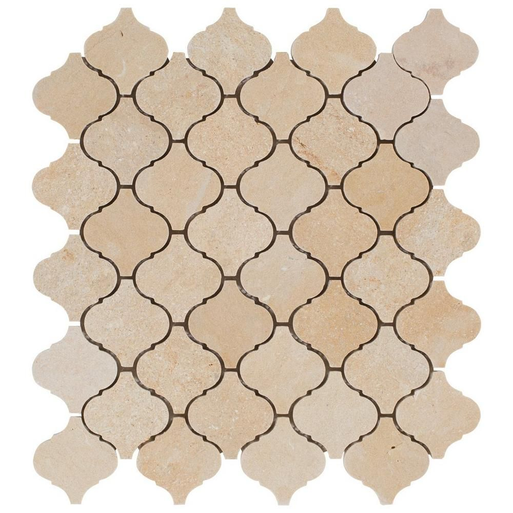 - Jerusalem Gold Arabesque Limestone Mosaic Arabesque Tile, Marble