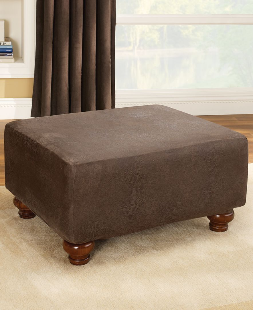 Stretch Faux Leather Ottoman Slipcover Products