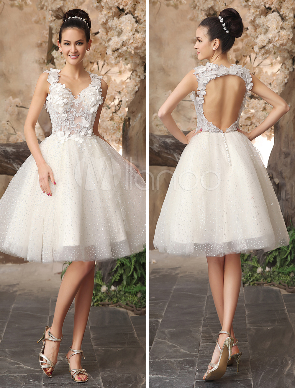 Ivory backless lace applique tulle sequins wedding dress milanoo
