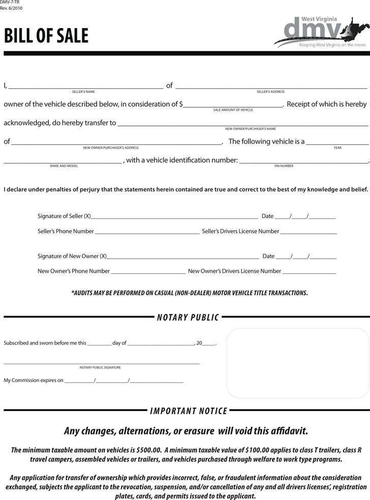West Virginia Motor Vehicle Bill Of Sale Form Download The Free Printable Basic Bill Of Sale Blank Form Template West Virginia Bill Of Sale Template Motor Car
