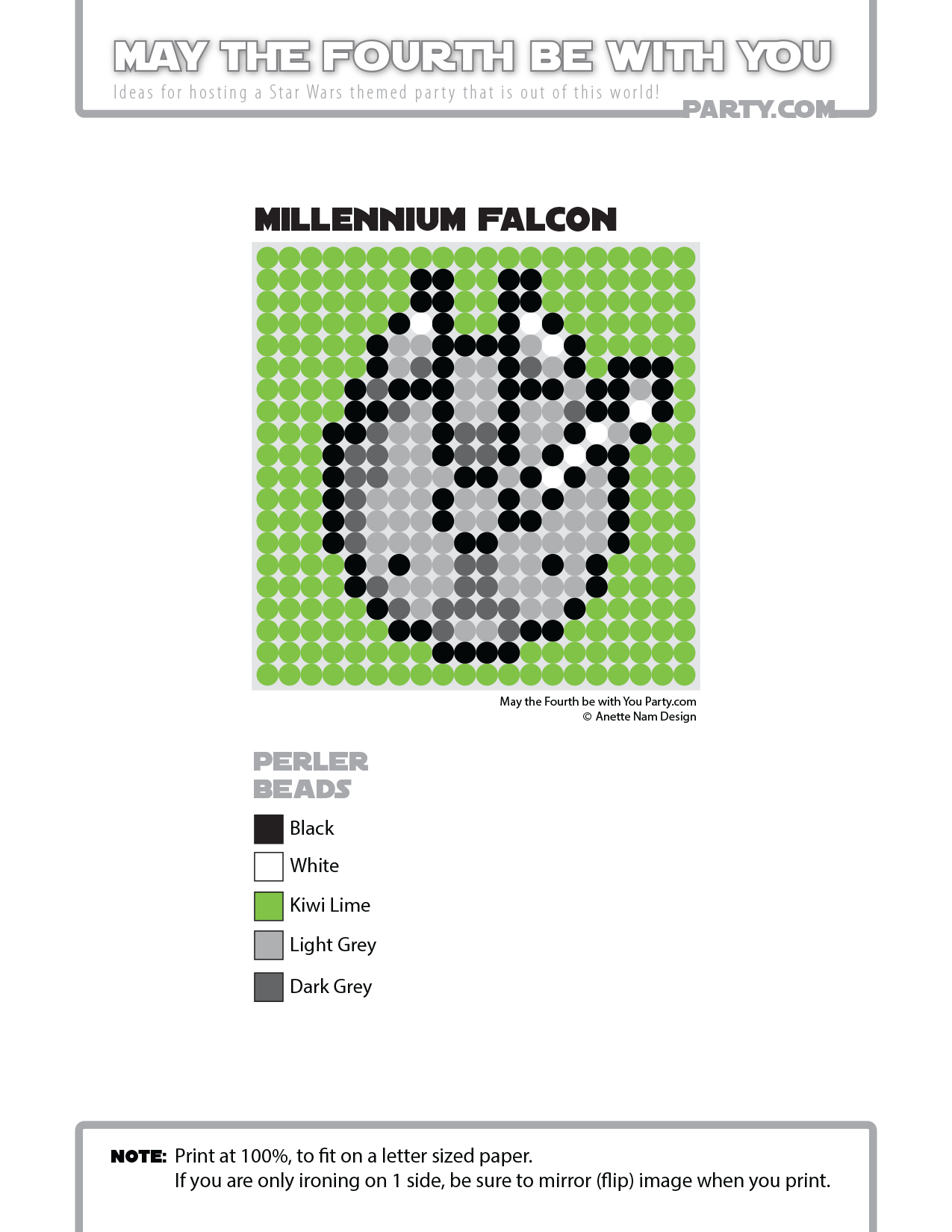 Millennium Falcon (Star Wars) Perler Pattern - May the 4th be with ...