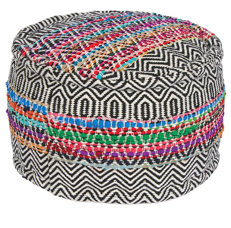 Indian Rishikesh Handloom Recycled Filled Pouffe Recycling