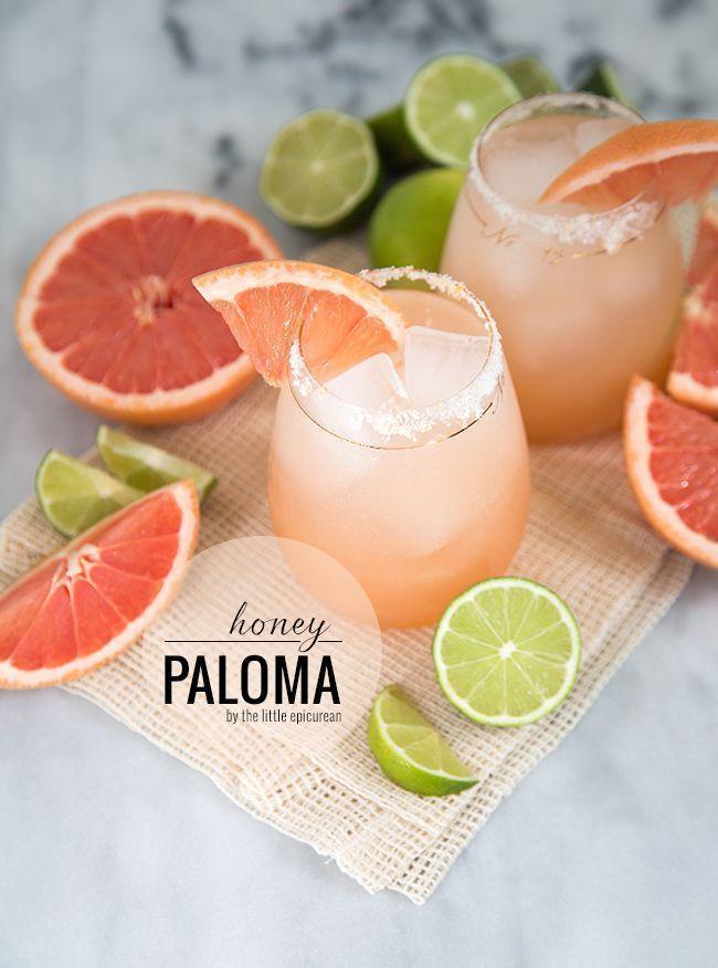 Grapefruit juice, lime juice, club soda, honey, tequila #summercocktails #fruitjuicesrecipes