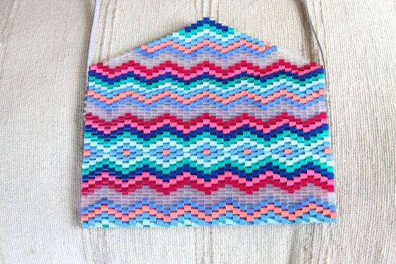 Chevron Beaded Cross-body Bag by MellowWithAPunch on Etsy, purse, hama beads, perler beads