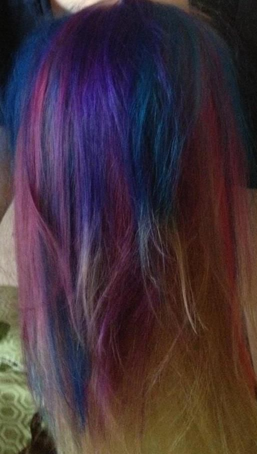 I Finally Stopped Talking About It And Did It Behold My New Rainbow Mermaid Hair This Is The Underside The Blond Splat Hair Color Hair Beauty Mermaid Hair