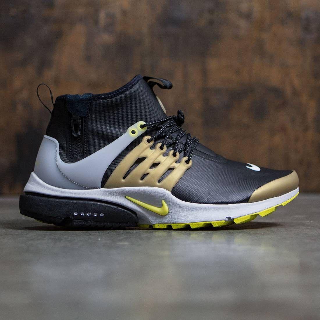 Nike Men Air Presto Utility Mid Top Black Yellow Streak Metallic Gold Toms Shoes For Men Kicks Shoes Sneakers Men