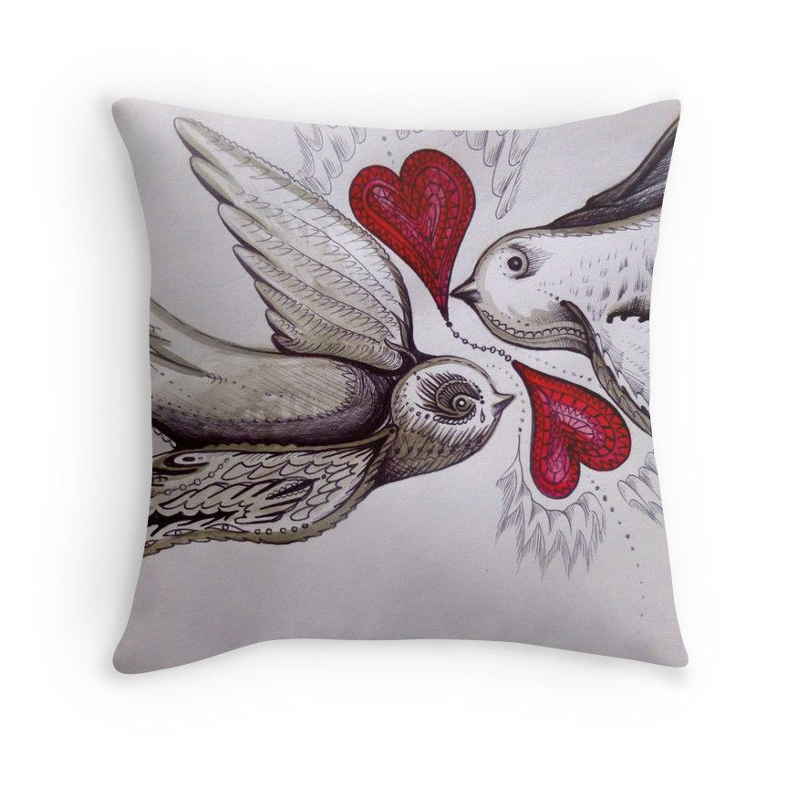 tattoo birds of love art home decoration printed art cushion by Melanie Dann