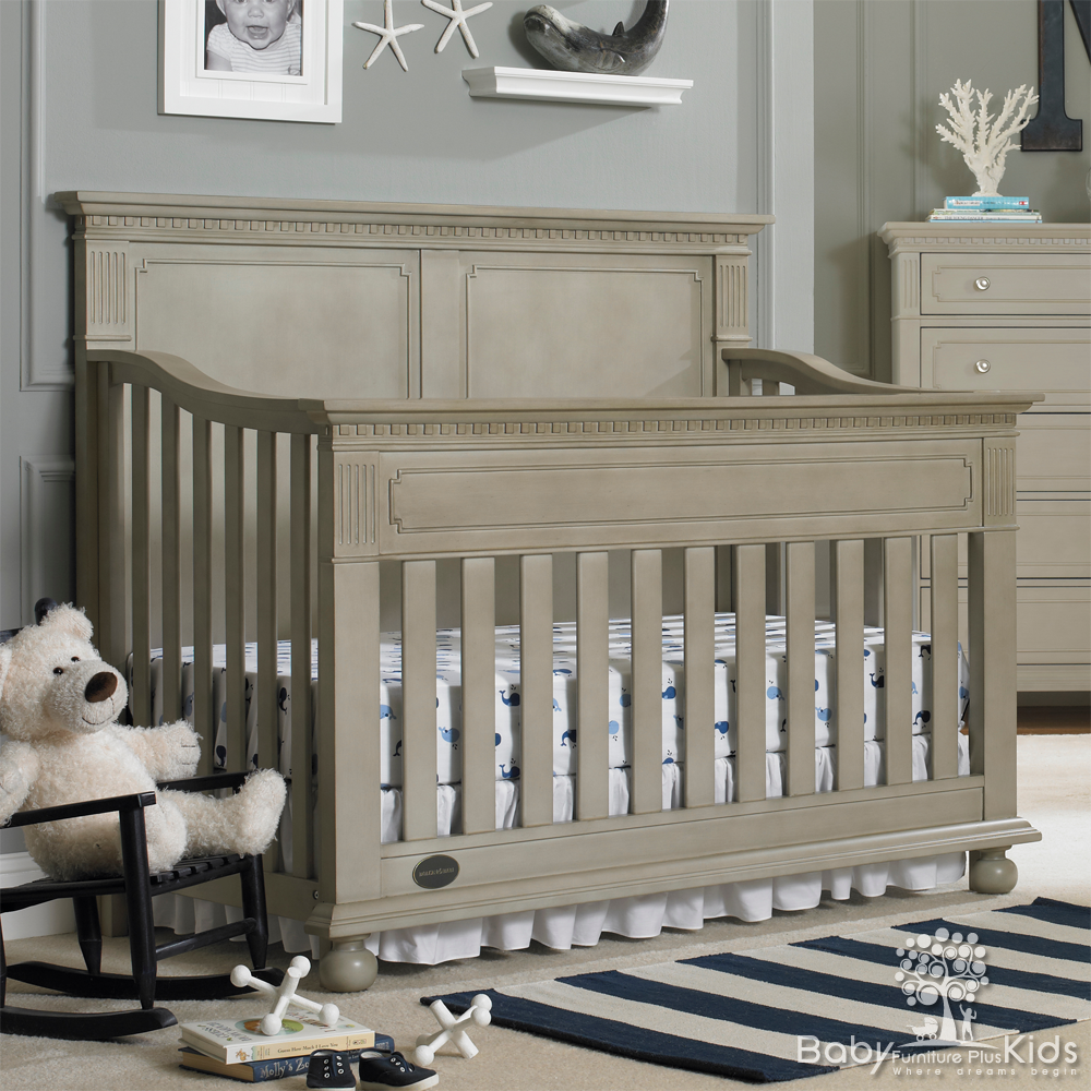 The Naples Gray Panel Back Crib Is A Lovely Convertible That Features Full Collection Nursery Sets Nurserywood