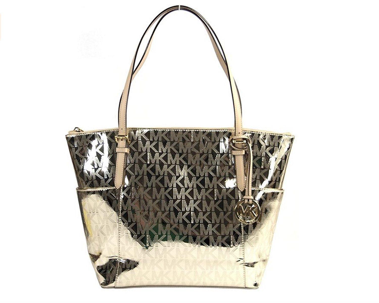 Michael Kors Jet Set Mirror Metallic Tote Pale Gold Handbags: Amazon.com