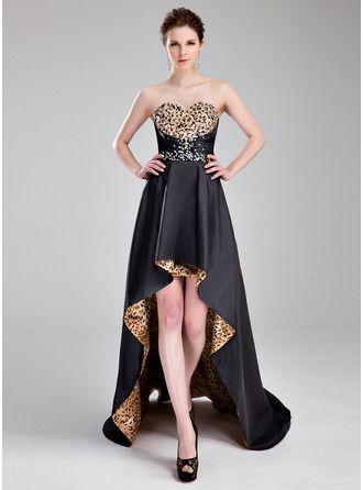 A-Line/Princess Sweetheart Asymmetrical Taffeta Prom Dress With Beading