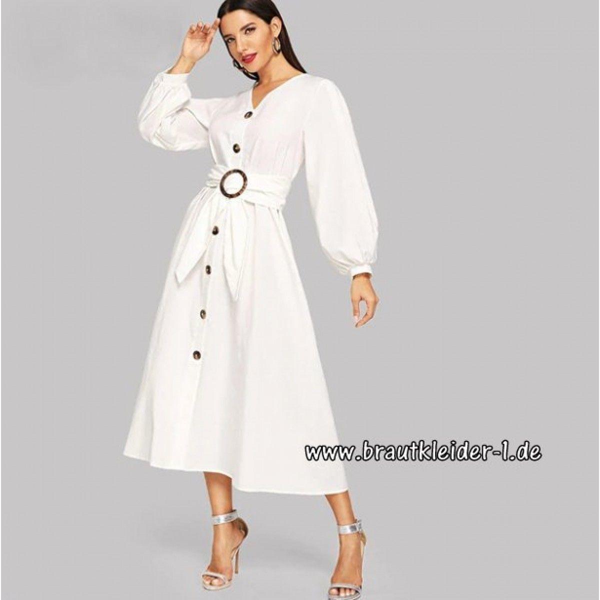 Weißes Langarm Kleid für den Standesamt mit Knöpfe Wadenlang