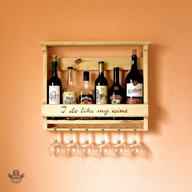 Настенная деревянная полка для 6 бутылок вина и бокалов. т ...