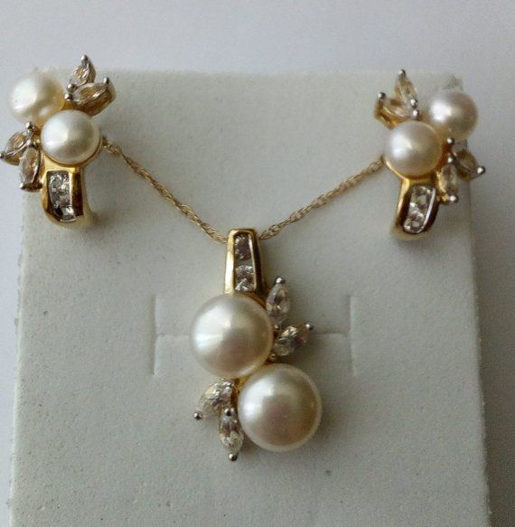 Rose Gold White Yellow Genuine Sapphires Diamonds Cultured Pearl Necklace 14K