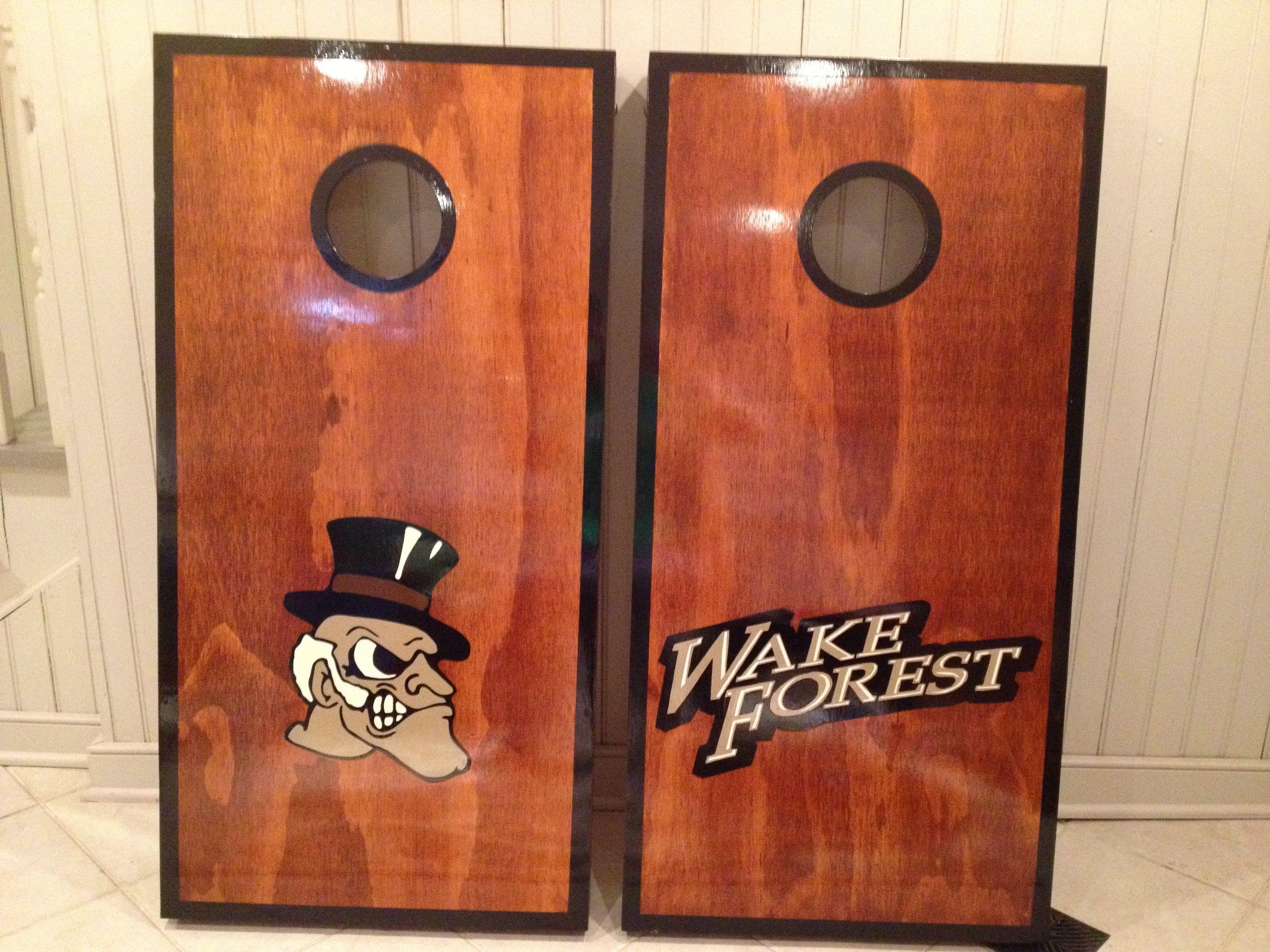 Wake Forest cornhole boards. Contact jason