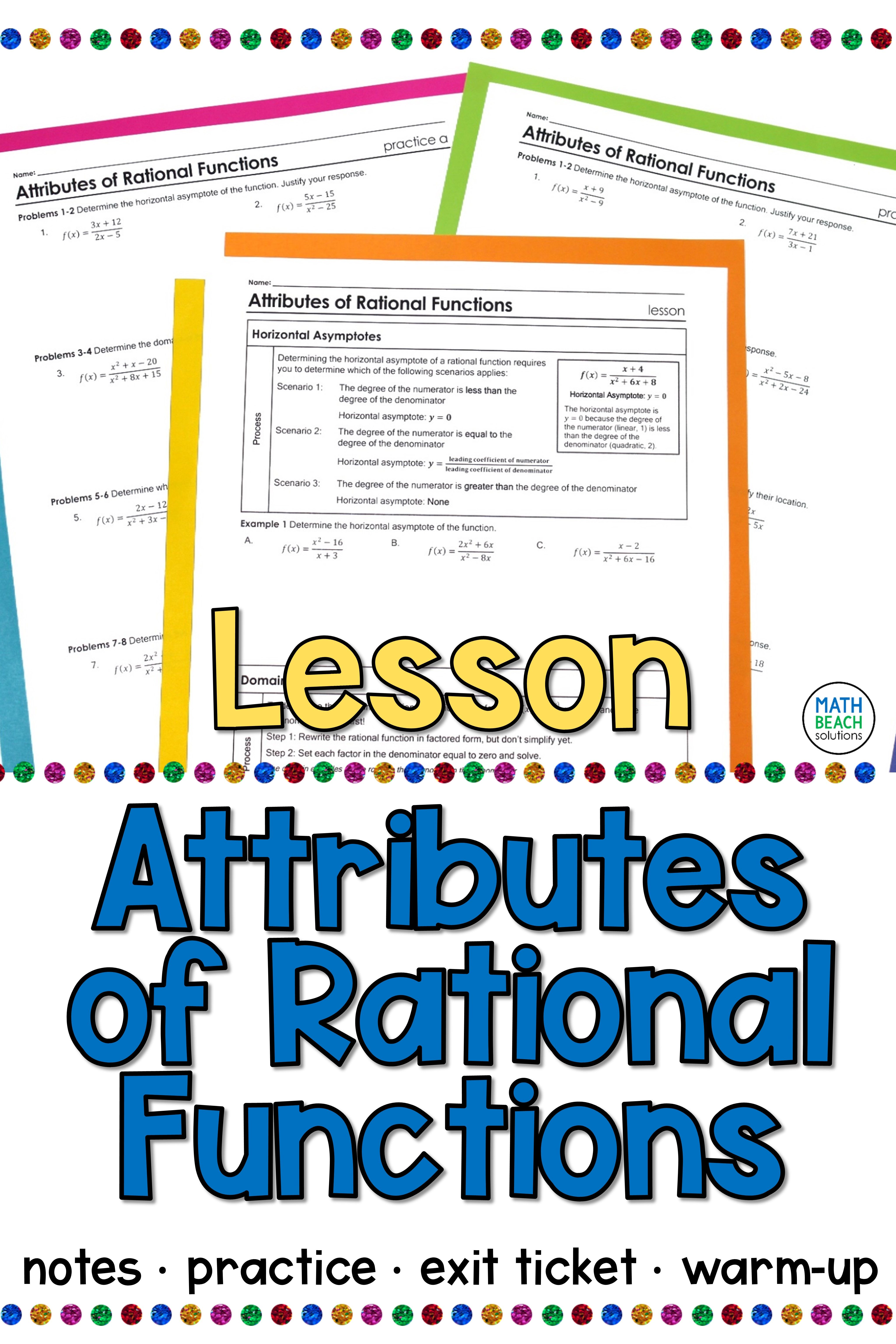 Attributes Of Rational Functions Lesson