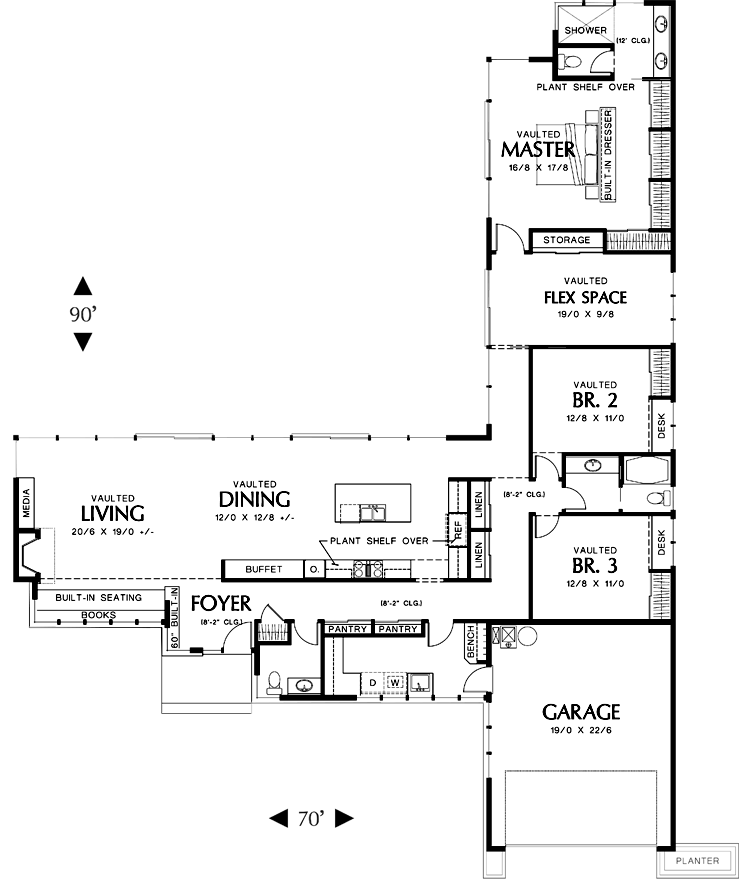 L Shaped House Plans with 3 Car Garage- dont need a three car garage ...