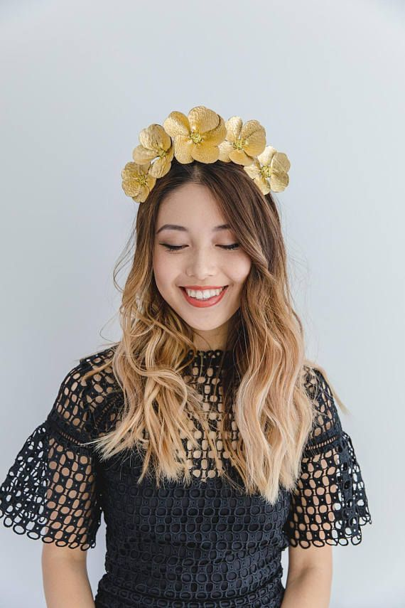 cc3ca53c2df Gold Leather Flower Fascinator    metallic gold flower crown ...