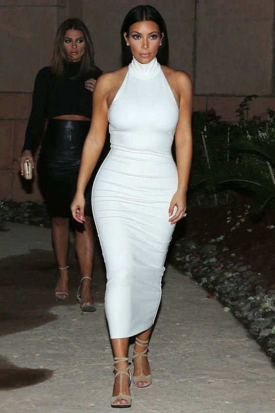 Inspired by Kim Kardashian Celebrity Dresses High Neck Sheath Mid-calf Prom Dresses Evening Formal Gowns