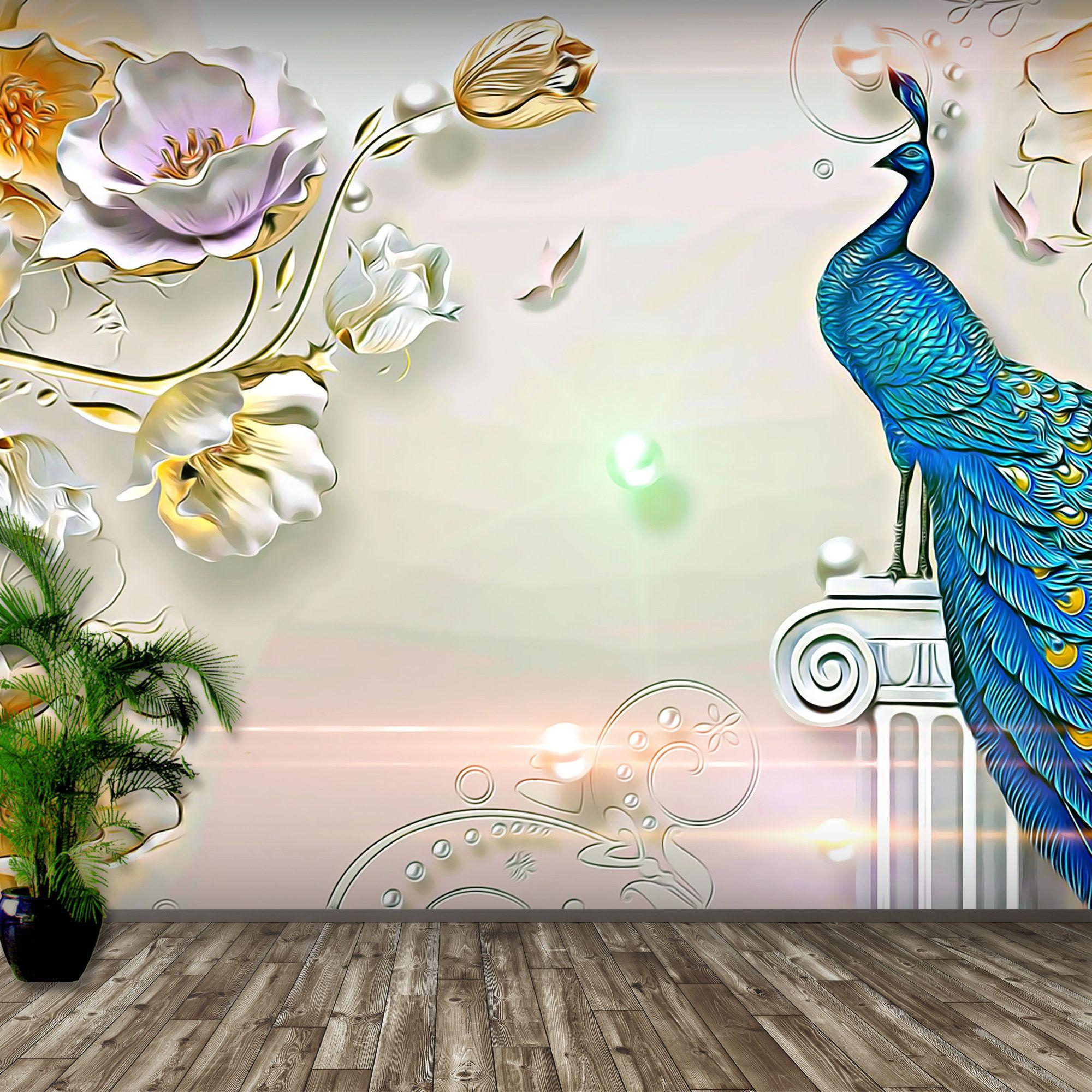 Peacock Wallpaper Removable Wallpaper Wall Mural Peel Etsy Wallpaper Wall Wallpaper Removable Wallpaper