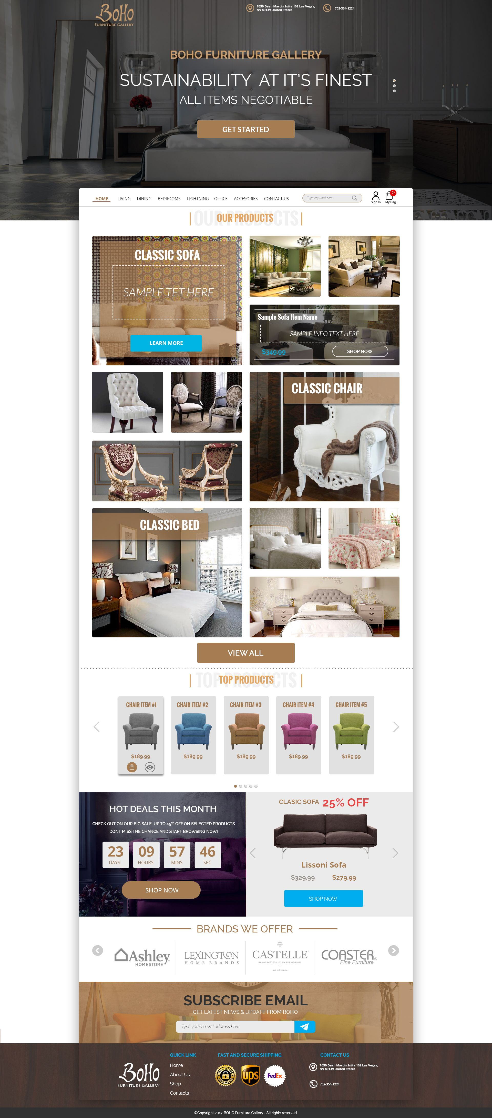 Boho Furniture Gallery Web Design