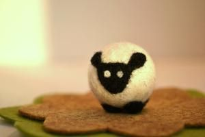 Needle FeltedTiny Black and white Sheep by ThingsByV on Etsy